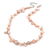 Delicate Pastel PInk Sea Shell Nuggets and Light Pink Glass Bead Necklace - 48cm L/ 7cm Ext
