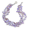 3 Row Pastel Purple Shell And Transparent Glass Bead Necklace - 43cm L