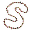 Long Olive/ Plum Shell/ Transparent Glass Crystal Bead Necklace - 110cm L