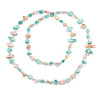 Long Pastel Pink/ Mint Shell/ Transparent Glass Crystal Bead Necklace - 110cm L