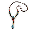 Blue/ Black/ Red Ceramic, Brown Wood Bead with Silk Cords Necklace - 56cm to 80cm Long/ Adjustable