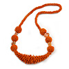 Chunky Burnt Orange Glass and Shell Bead Necklace - 70cm L