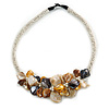 Stunning White Glass Bead with Shell Floral Motif Necklace (Brown, Yellow, Grey) - 48cm Long