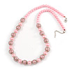 Light Pink Glass Bead with Silver Tone Metal Wire Element Necklace - 64cm L/ 4cm Ext