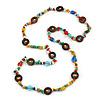 Long Multicoloured Semiprecious Stone, Ceramic Bead, Brown Wood Ring Necklace - 102cm L