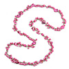 Long Pink Glass Bead, Sea Shell with Silver Tone Chain Necklace - 140cm L