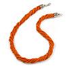 Mulistrand Twisted Orange Glass Bead Necklace - 48cm Long