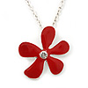 Red Enamel Flower Pendant With Silver Tone Oval Link Chain - 40cm Length/ 7cm Extension