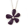 Purple Enamel Flower Pendant With Silver Tone Oval Link Chain - 40cm Length/ 7cm Extension