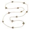 Long Light Grey Enamel Heart, Flower, Butterfly Necklace In Gold Plating - 154cm L
