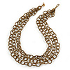 3-Strand Golden/ Brown Glass Bead Oval Link Necklace - 70cm L