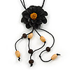 Black Leather Daisy Pendant with Long Cotton Cord - 80cm L - Adjustable