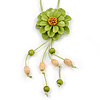 Salad Green Leather Daisy Pendant with Long Cotton Cord - 80cm L - Adjustable