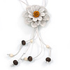 Off White Leather Daisy Pendant with Long Cotton Cord - 80cm L - Adjustable
