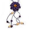 Deep Purple Leather Daisy Pendant with Long Cotton Cord - 80cm L - Adjustable