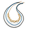 3 Strand, Layered Oval Link, Box Style Chain Necklace In Black/ Light Blue/ Gold Tone - 86cm L