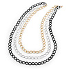3 Strand, Layered Textured Oval Link Necklace (Black/ Light Silver/ Gold Tone) - 86cm L
