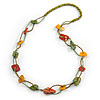 Long Stone and Wood Bead Necklace (Light Green, Yellow, Red) - 84cm L