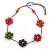 Long Multicoloured Wooden Flower Black Cotton Cord Necklace - 80cm L