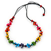 Long Multicoloured Wooden Bead Black Cotton Cord Necklace - 80cm L