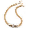 Gold Tone Mesh Necklace with Crystal Ball - 40cm L/ 9cm Ext