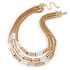 Stylish 3 Strand Layered Mesh with Metal Tunnel Beads Necklace In Gold Tone - 44cm L/ 7cm Ext