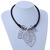 Oversized Leaf Pendant with Thick Black Leather Cord In Silver Tone - 42cm L/ 6cm Ext