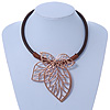 Oversized Leaf Pendant with Thick Brown Leather Cord In Gold Tone - 42cm L/ 6cm Ext