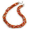 Chunky Twisted Glass Bead Necklace In Silver Tone (Orange, White, Gold, Red) - 50cm L/ 4cm Ext