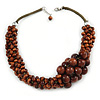 Brown Bead Cluster Cord Necklace - 48cm L/ 3cm Ext