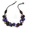 Purple Resin, Black/ Brown Wood Cluster Beaded Cord Necklace - 50cm L