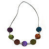 Multicoloured Wood/ Shell Disk with Leather Style Cord Necklace - 76cm L
