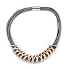 Multistrand Grey Leather Cord with Two Tone Zig Zag Pendant Necklace with Magnetic Closure - 45cm L
