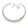 Polished Silver Tone Collar Necklace with Crystal Accent - 34cm L/ 14cm Ext