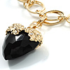 Jet Black Multifaceted Plastic Heart Gold Tone Long Costume Pendant