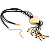 Gold Tone Multi Cord Tassel Fashion Heart Pendant