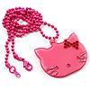 Romantic Pink Plastic Kitten Pendant