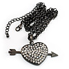 Black-Tone Clear Crystal Heart &amp; Arrow Fashion Pendant