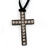 Black Tone Crystal Cross Velour Cord Pendant [P00379]