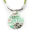Modernistic Enamel Disk Cord Pendant (Light Green)