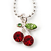 Tiny Crystal Cherry Pendant With Small Oval Link Chain In Silver Tone - 40cm L/ 5cm Ext