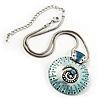 Light Blue Ornate Enamel Round Pendant Necklace