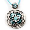 Silver Tone Medallion Cotton Cord Pendant (Aqua)