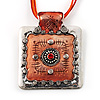 Ornate Orange Square Enamel Cord Pendant