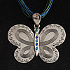 Vintage Butterfly Cord Pendant (Green&amp;Blue)