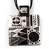 Square Shaped Ornate Cord Pendant (Antique Silver Tone)