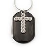 Clear Crystal Cross Dog Tag Pendant (Silver&Black Tone) [P00471]