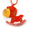 Orange Crystal Rocking Horse Pendant
