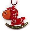 Red Crystal Rocking Horse Pendant
