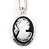 Long Cameo 'Classic Lady' Silver Tone Oval Locket Pendant - 56cm L